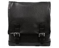 Деловая мужская кожаная сумка с декоративными ремешками черная ALVI av-2241