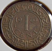 Монета Суринама. 1 цент 1966 год.