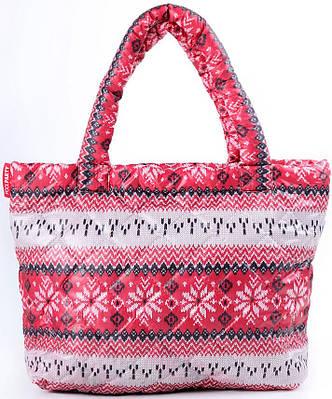 8c16f9bfaca3 Женская дутая сумка этно принтом POOLPARTY pp11-red красная — только ...
