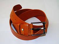 Рыжий кожаный ремень 40 мм
