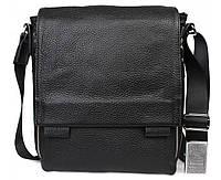 Деловая стильная мужская кожаная сумка черная ALVI av-2241