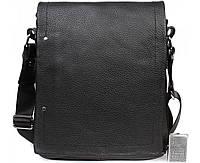 Вместительная мужская кожаная сумка черная ALVI av-5555