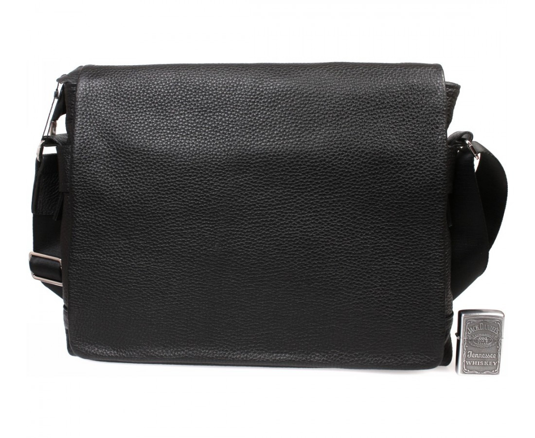 fd72e5fb498a Горизонтальная мужская кожаная сумка формата А4 черная ALVI av-30-18187 -  АксМаркет в
