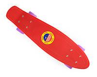 """Детский ПенниБорд Красный 22"""" Лиловые Колеса / пенниборд скейт (penny board), скейтборд"""