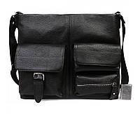 Оригинальная мужская кожаная сумка горизонтального типа формата А4 черная ALVI av-298