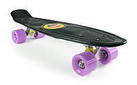 """Детский Пенни Борд Черный 22"""" Лиловые Колеса / пенниборд скейт (penny board), скейтборд"""