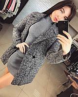 Женское демисезонное кашемировое пальто меланжевого цвета