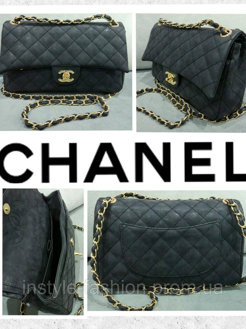 4e2c56efb643 Модная сумка клатч Chanel Шанель на цепочке цвет черный нубук, фото 2