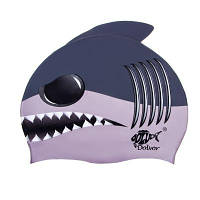 Шапочка для плавания детская Dolvor, силикон, синий (DLV-SС12-Shark-(bl))