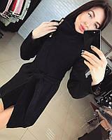 Женское демисезонное кашемировое пальто черного цвета