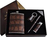 """Подарочный набор с флягой для мужчин """"Moongrass"""" 4в1 Фляга,зажигалка,брелок,ручка AL-001"""