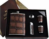 """Подарочный набор с флягой для мужчин """"Moongrass"""" 5в1 Фляга,зажигалка,стопки,лейка AL-005"""