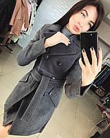Женское демисезонное кашемировое пальто серого цвета