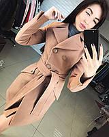 Женское демисезонное кашемировое пальто цвета мокка