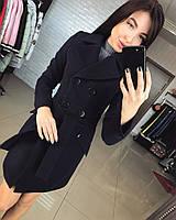 Женское демисезонное кашемировое пальто темно-синего цвета