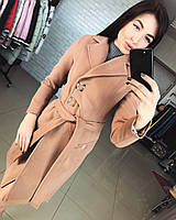 Женское демисезонное кашемировое пальто цвета мокко