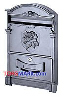 Пластиковый почтовый ящик с узором розы (черный)