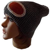 Женская вязаная спицами шапка - носок  (цвета маренго) , объемной ручной вязки