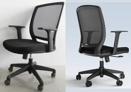 Кресло офисное с подлокотниками и спинкой сеткой Акцент