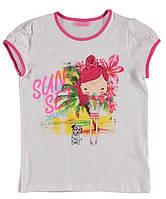 Футболка для девочки LC Waikiki белого цвета с надписью Sun Set