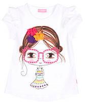 Футболка для девочки LC Waikiki белого цвета с девочкой в очках