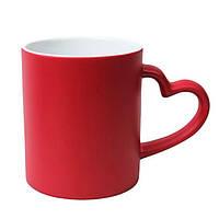 Чашки-хамелеоны с фото с ручкой в форме сердца (красные)