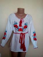 """Рубашка вышиванка для девочки""""Васельки""""(122,140см.)"""