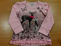 Детский батник для девочки розовый с олененком