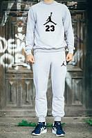 Серый костюм Jordan теплый (черное лого)