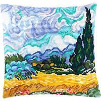 Набор для вышивки крестом Чарівниця V-159 Подушка Пшеничное поле с кипарисом