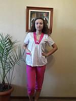 Трикотажная женская пижама для сна и дома футболка с бриджами