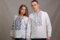 Белые торжественные вышиванки для пары с элементами славянской вышивки. цена за пару, можно покупать отдельно