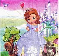 Салфетки праздничные Принцесса София 33*33 см