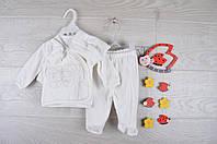 """Крестильный детский костюм """"Бабочка"""". Велюр. 0-3 месяцев. Кремовый. Оптом."""