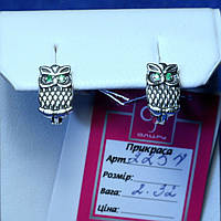 Серебряные серьги Сова с зеленым цирконием 2254