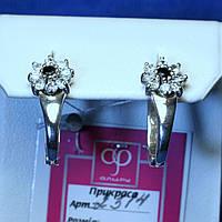 Серебряные серьги с цирконием Цветочек 2314ч, фото 1