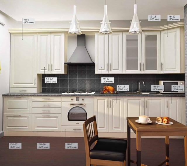 Кухня Прямая из МДФ покрытый пленкой Белая