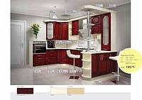 Кухня П-образная из МДФ покрытый пленкой Бордовая, фото 1