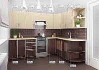 Кухня Угловая из ДСП Венге светлый верх, Венге темный низ в алюминиевой рамке!, фото 1