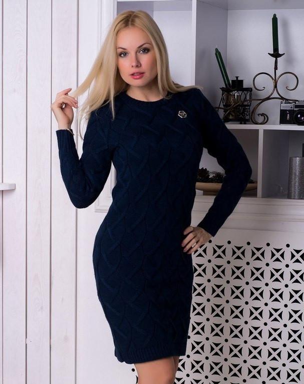 """Вязаное платье """"Верона"""" синий"""