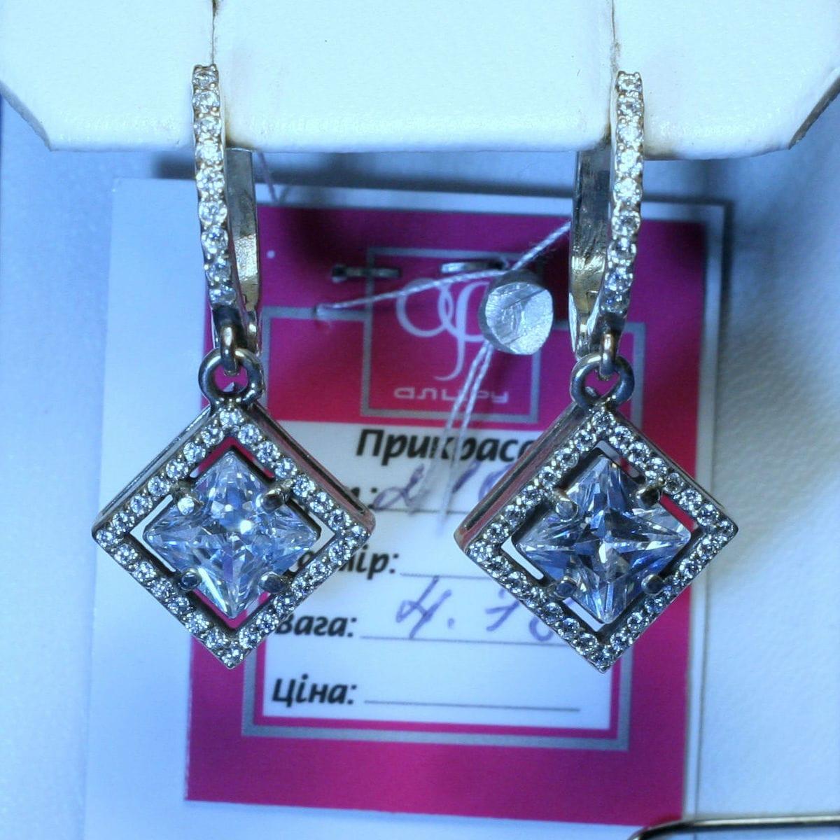 Серебряные сережки Висюльки с фианитом 21096, фото 1