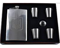 Подарочный набор с флягой для мужчин Укаина фляга,4 стопки,лейка AL107