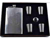 Подарочный набор с флягой для мужчин Украина фляга,4 стопки,лейка AL107