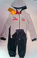 Костюм для мальчиков Серый 104 см 3 года Велюр КС437в Бэмби Украина