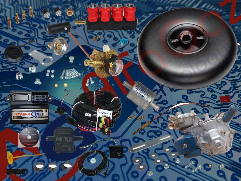 Комплект Stag-4 Qbox basic, Редуктор Alaska, Форсунки Valtek, Фильтр, Баллон тороидальный 42 л. + Мульт