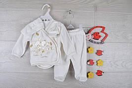 """Крестильный детский костюм """"Мишки"""". Велюр. 0-3 месяцев. Кремовый. Оптом."""