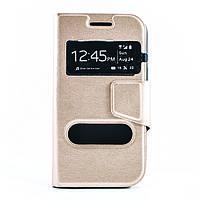 Чехол (книжка) с окошком для Samsung J105H Galaxy J1 Mini / Galaxy J1 Nxt  золотой