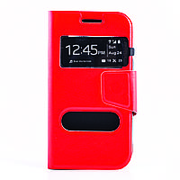 Чехол (книжка) с окошком для Samsung J105H Galaxy J1 Mini / Galaxy J1 Nxt  красный