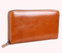 Эксклюзивный мужской клатч-портмоне из гладкой кожи рыжего цвета