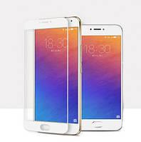 Закаленное защитное 3D стекло (на весь экран) для Meizu M5 (белое)